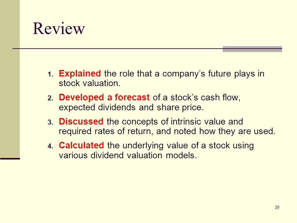 Review Explained the role that a company's future plays in stock valuation.
