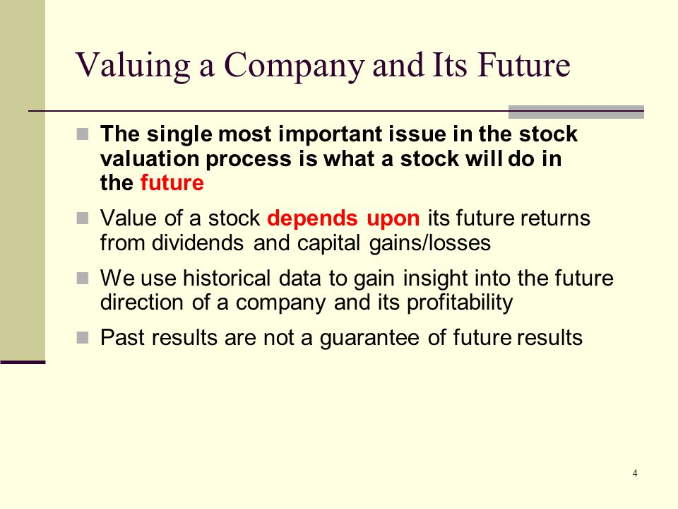 Valuing a Company and Its Future