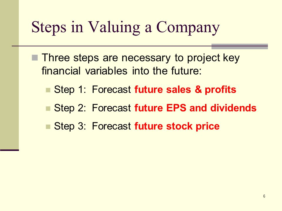 Steps in Valuing a Company