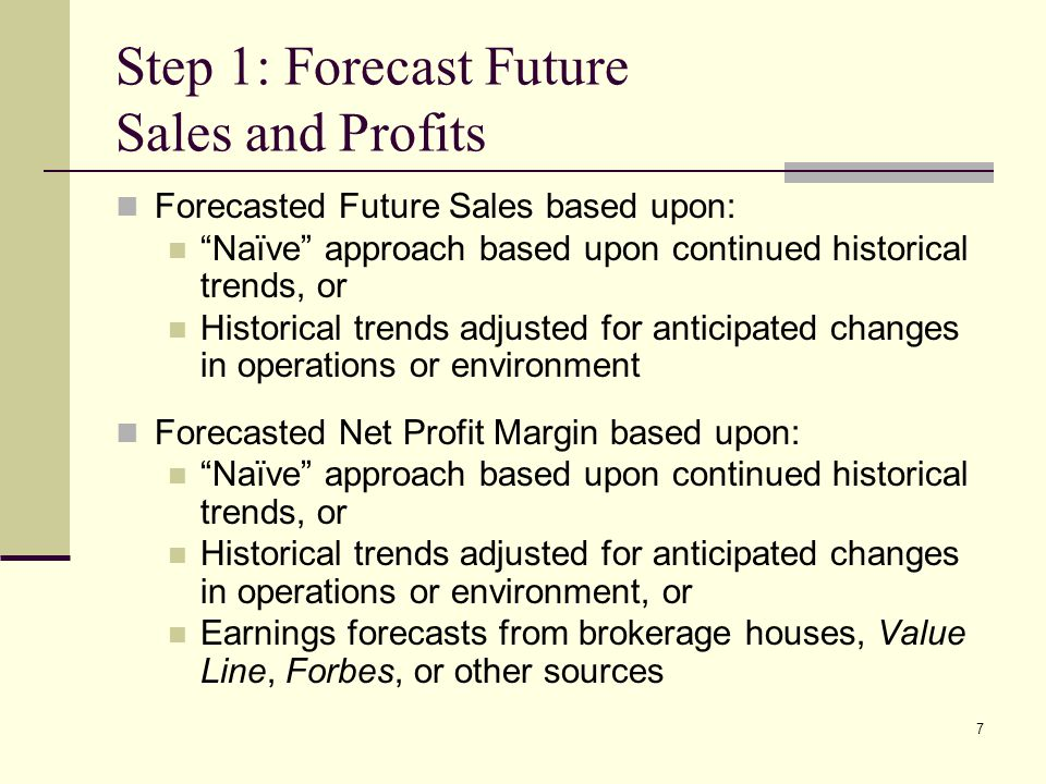 Step 1: Forecast Future Sales and Profits