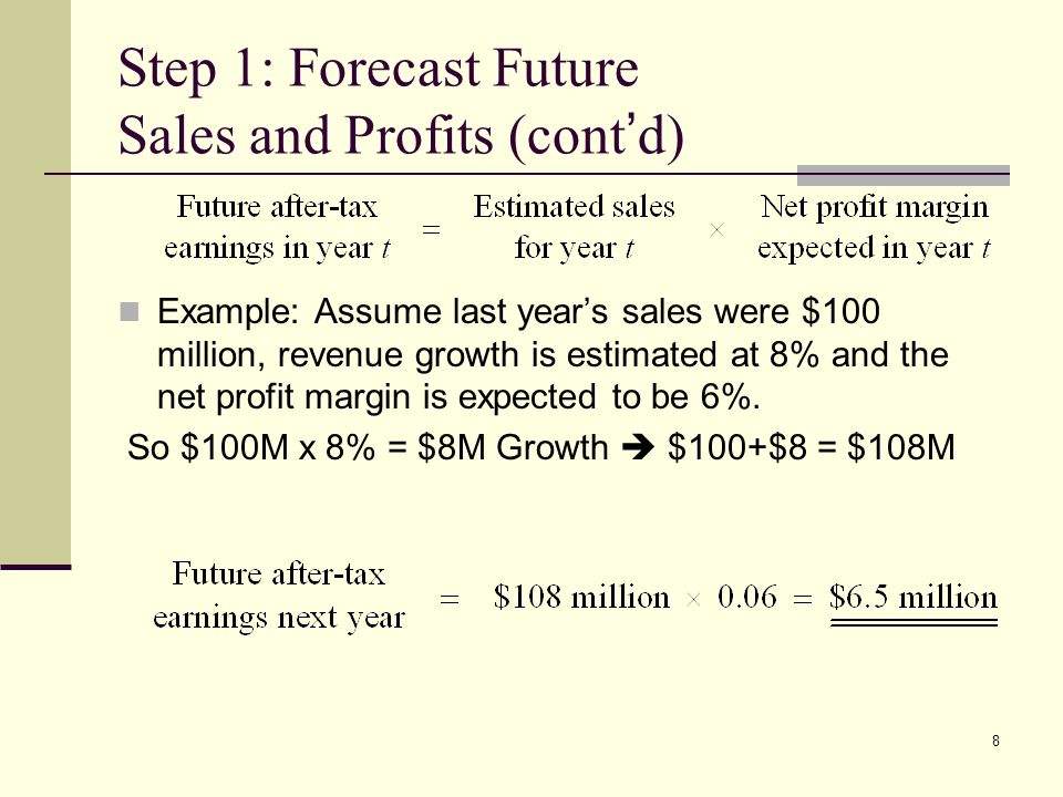 Step 1: Forecast Future Sales and Profits (cont'd)