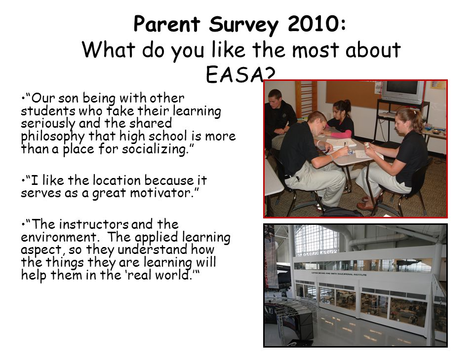 Parent Survey 2010: What do you like the most about EASA