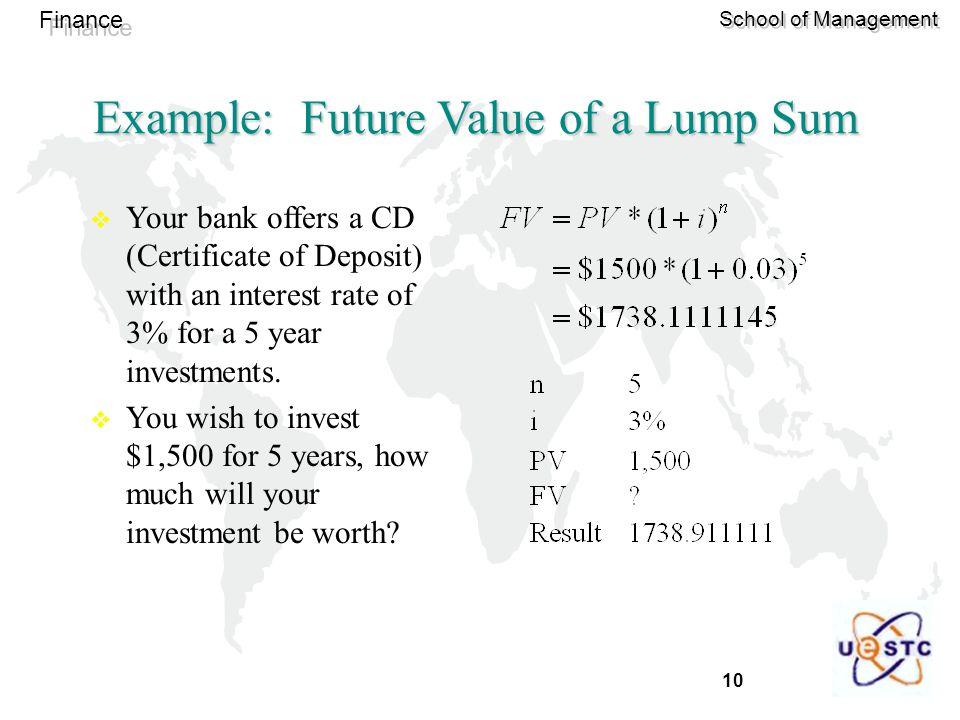 Example: Future Value of a Lump Sum