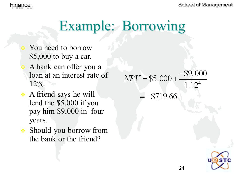 Example: Borrowing You need to borrow $5,000 to buy a car.