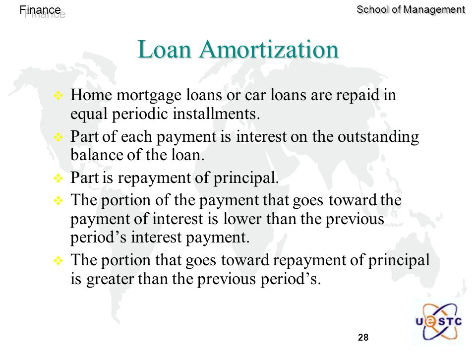 Loan Amortization Home mortgage loans or car loans are repaid in equal periodic installments.