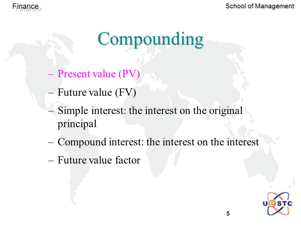 Compounding Present value (PV) Future value (FV)