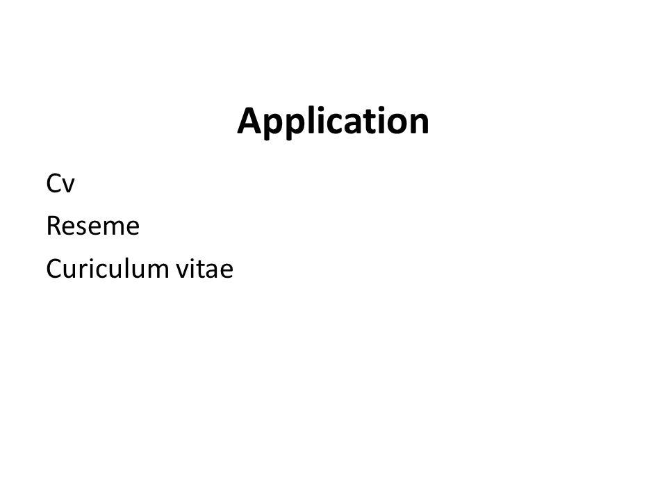 Application Cv Reseme Curiculum vitae