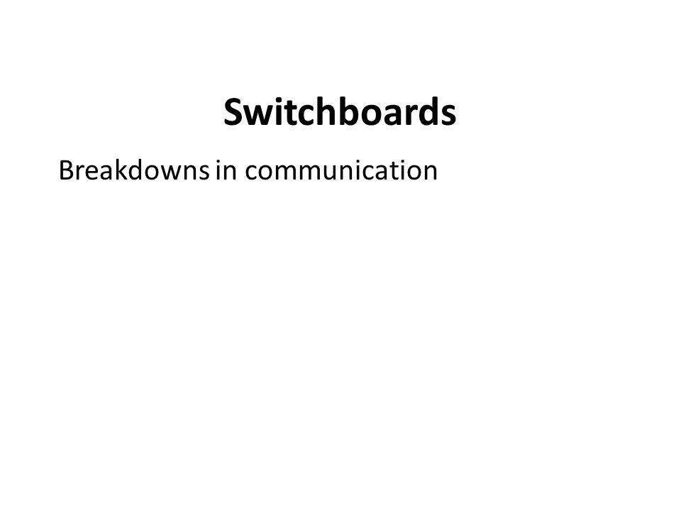 Switchboards Breakdowns in communication