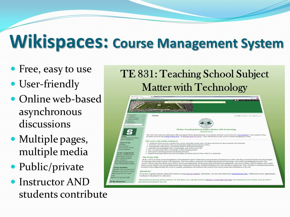 Wikispaces: Course Management System
