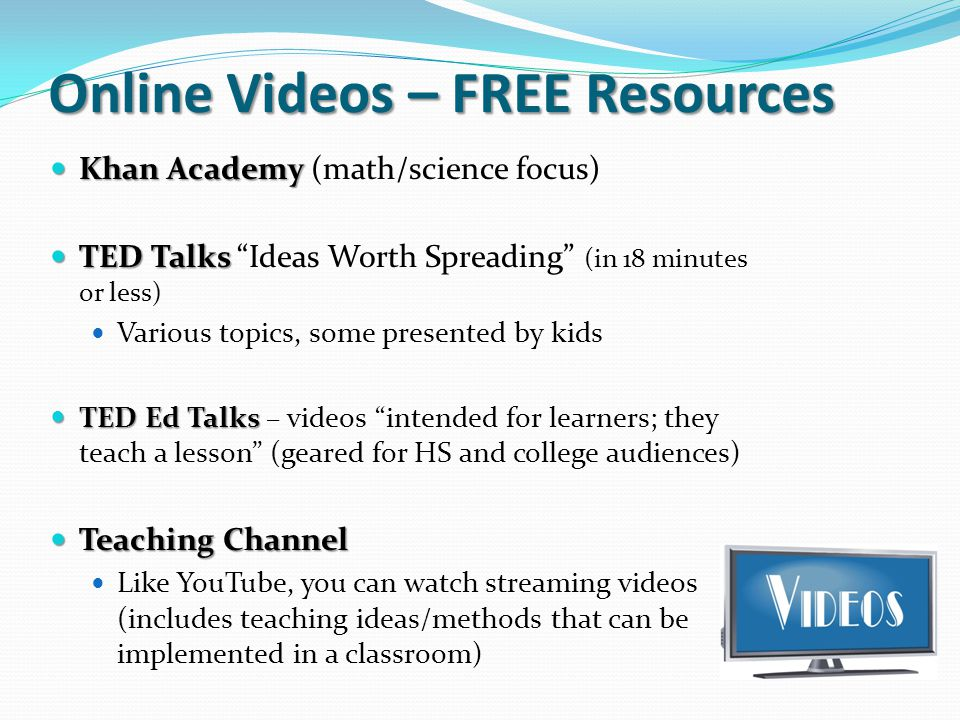 Online Videos – FREE Resources