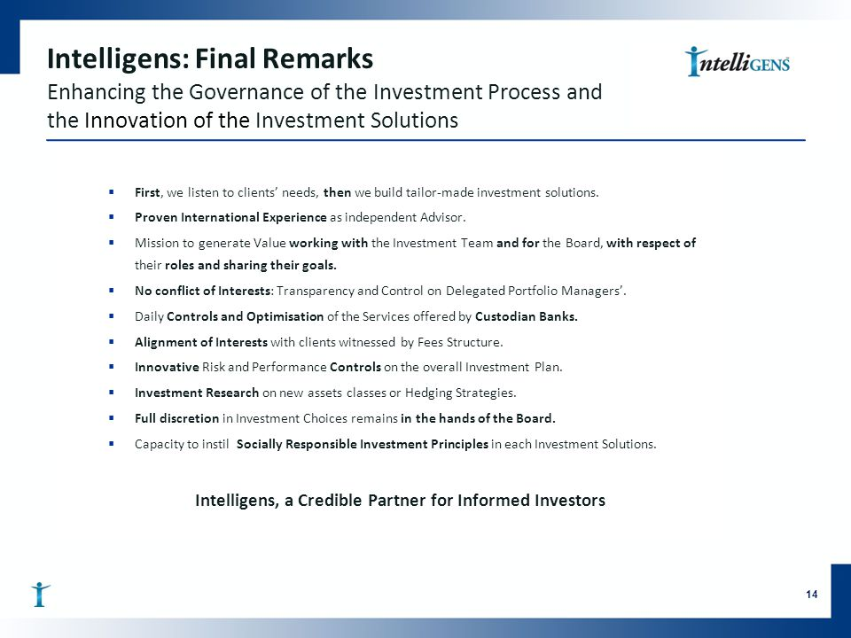 Intelligens, a Credible Partner for Informed Investors