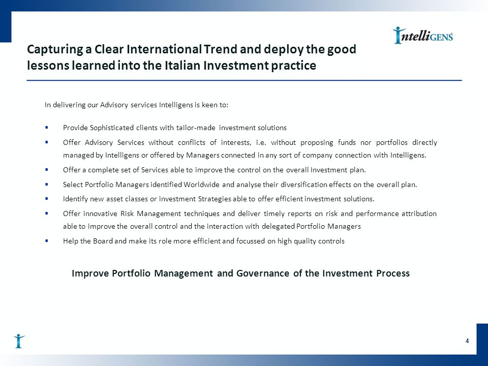 Improve Portfolio Management and Governance of the Investment Process