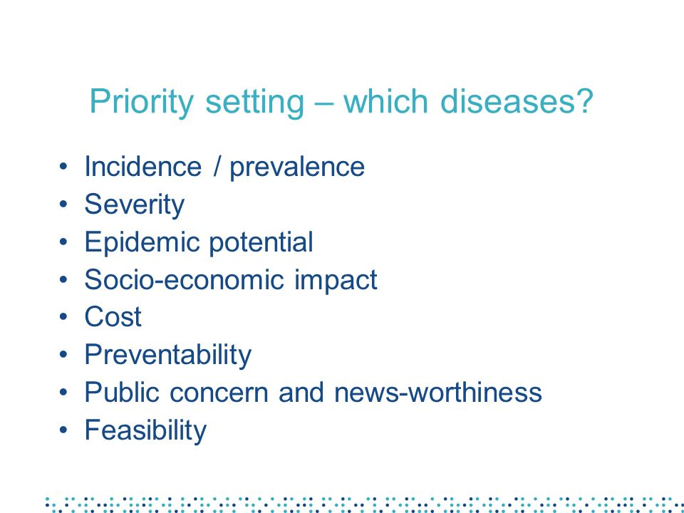 Priority setting – which diseases