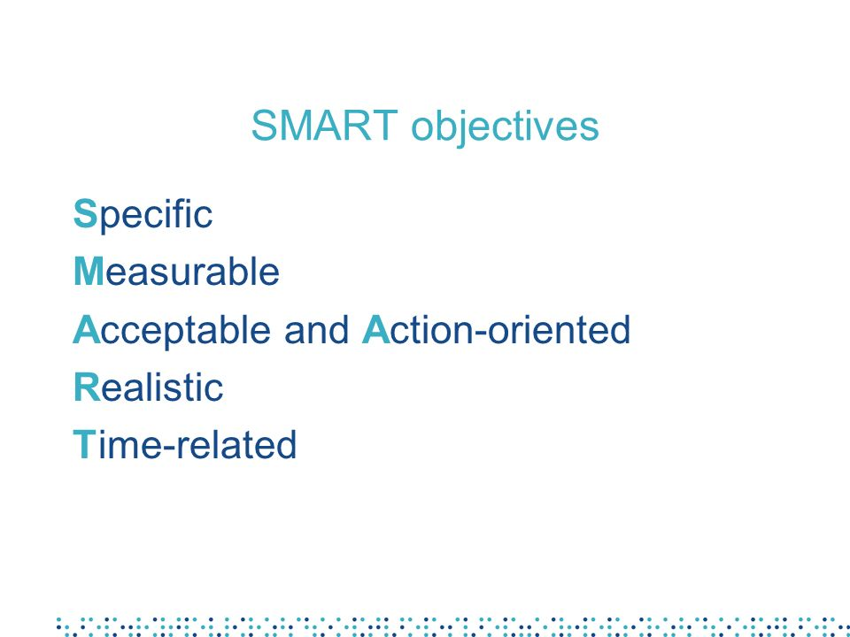 SMART objectives Specific Measurable Acceptable and Action-oriented