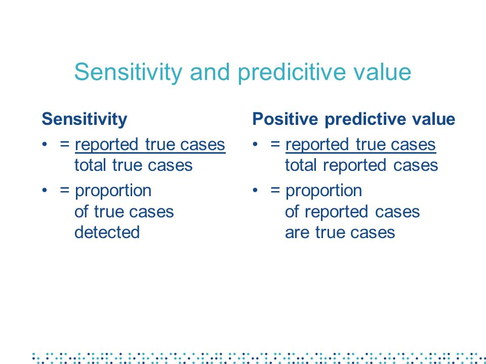 Sensitivity and predicitive value
