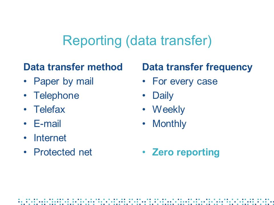 Reporting (data transfer)