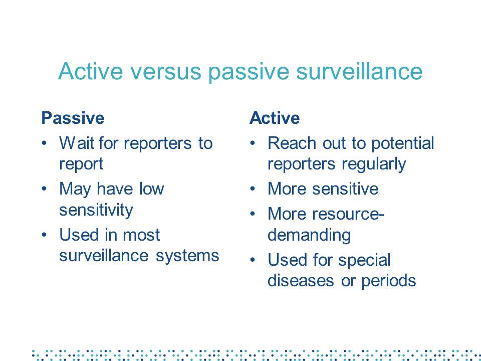 Active versus passive surveillance
