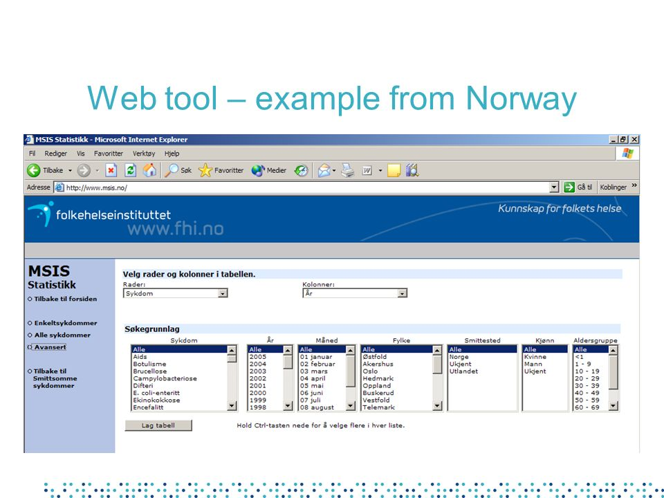 Web tool – example from Norway