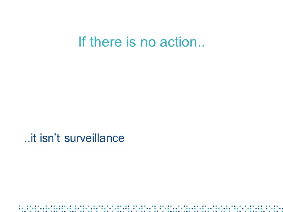 If there is no action.. ..it isn't surveillance