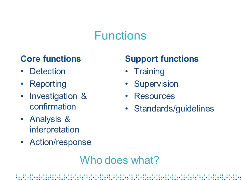 Functions Who does what Core functions Detection Reporting