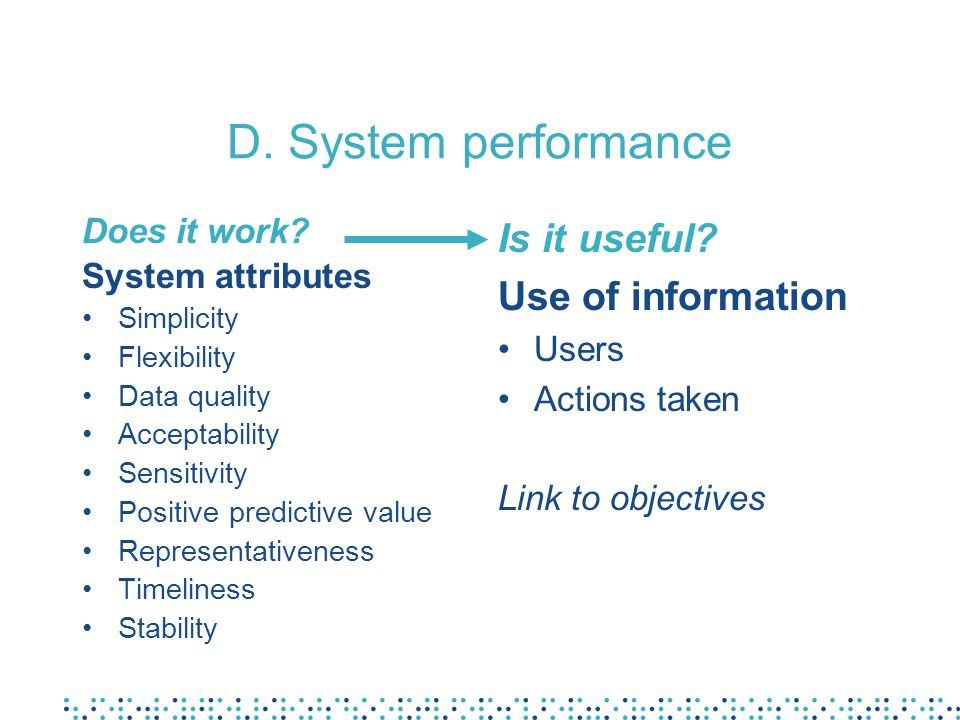 D. System performance Is it useful Use of information Does it work