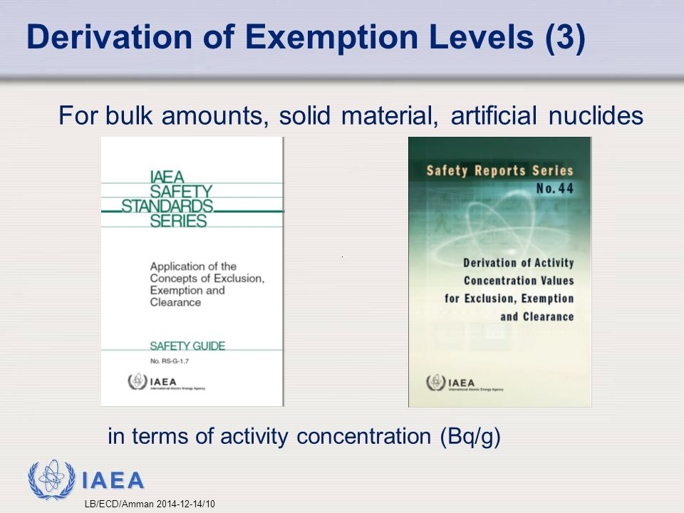 Derivation of Exemption Levels (3)