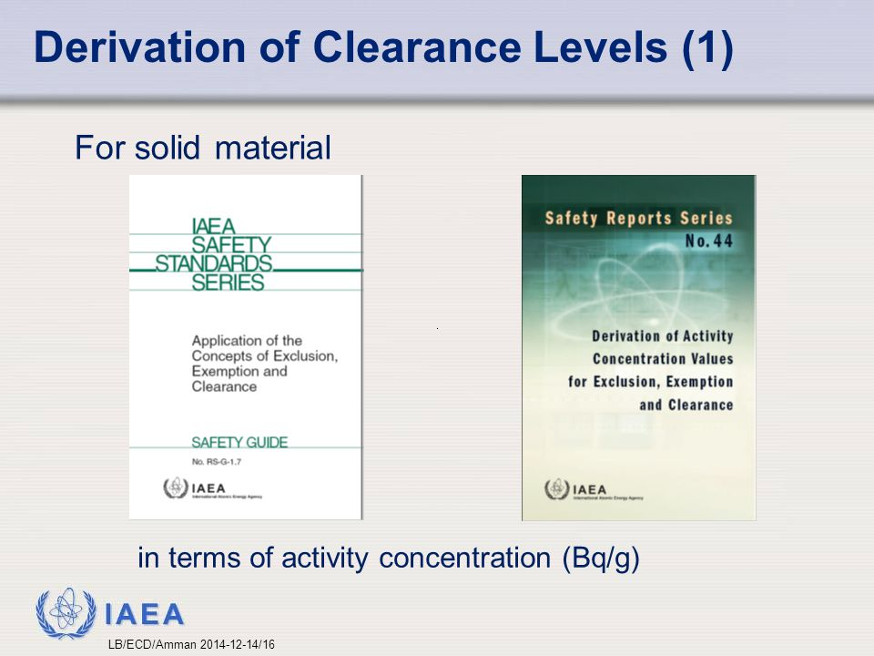 Derivation of Clearance Levels (1)