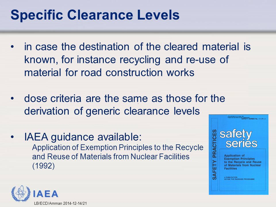 Specific Clearance Levels