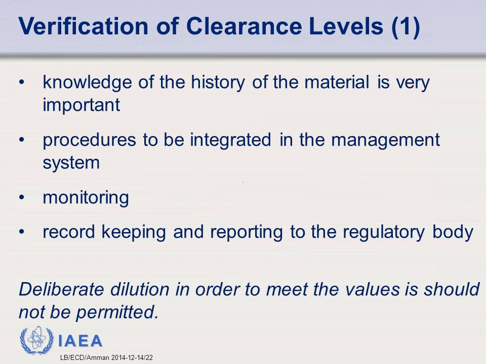 Verification of Clearance Levels (1)