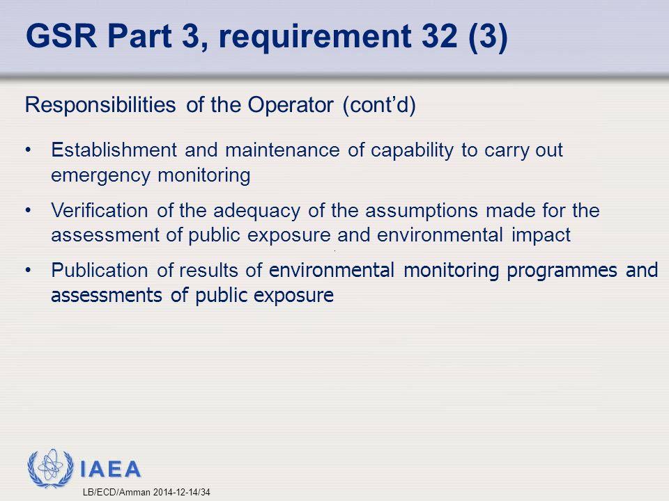 GSR Part 3, requirement 32 (3)