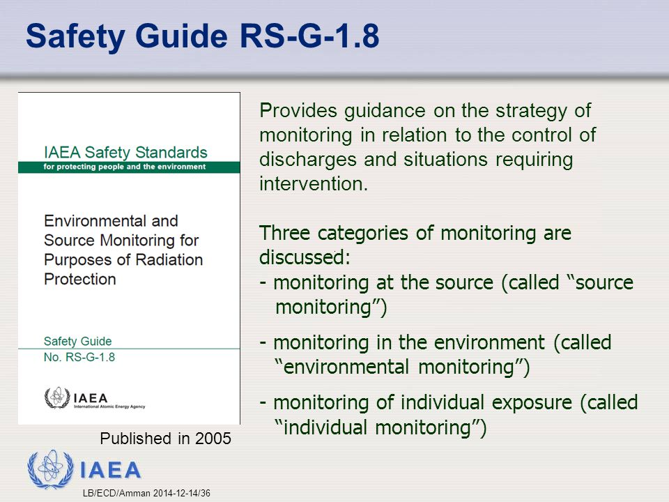 Safety Guide RS-G-1.8 Provides guidance on the strategy of monitoring in relation to the control of discharges and situations requiring intervention.