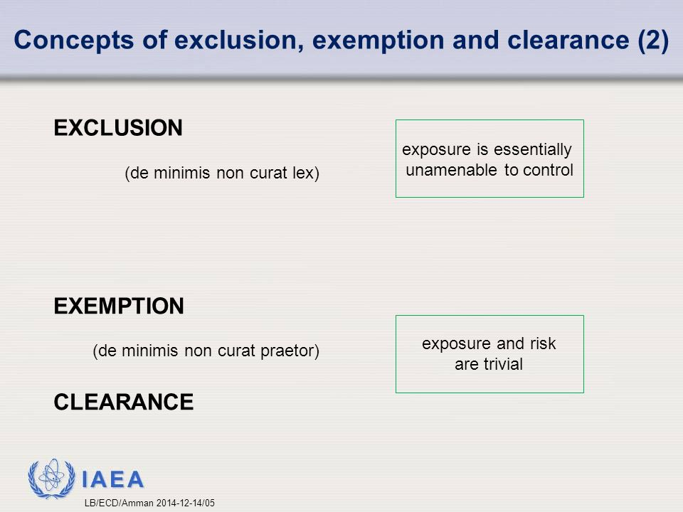 Concepts of exclusion, exemption and clearance (2)