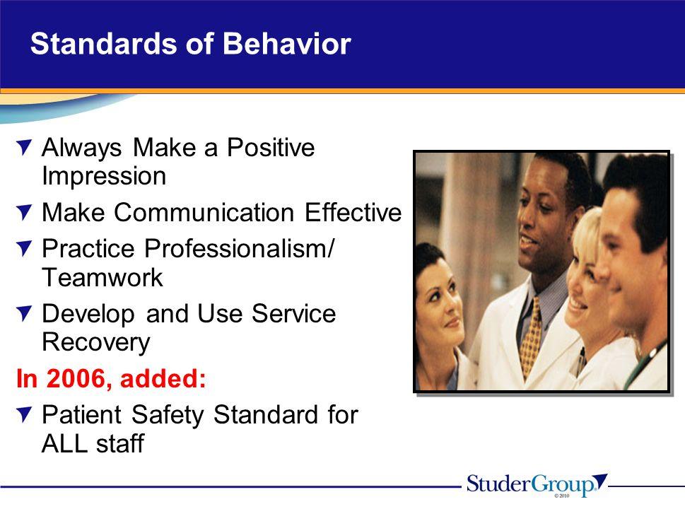 Standards of Behavior Always Make a Positive Impression