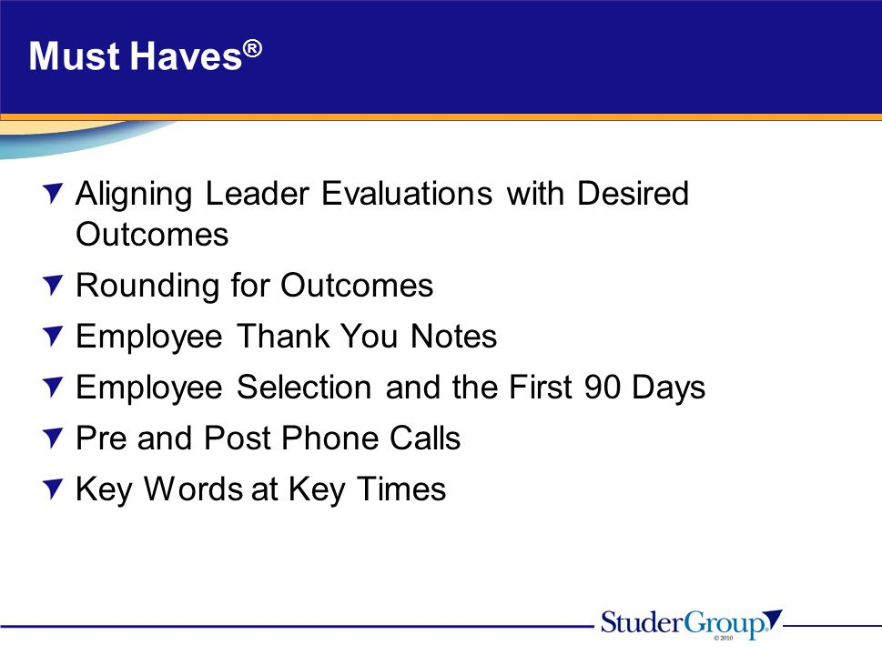 Must Haves® Aligning Leader Evaluations with Desired Outcomes