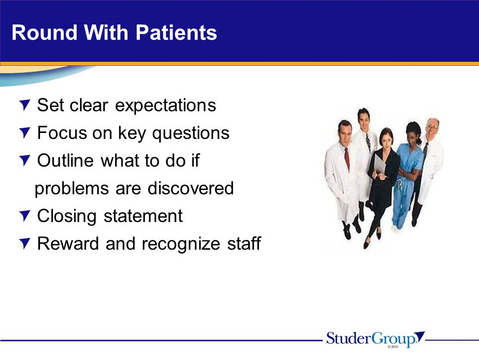 Round With Patients Set clear expectations Focus on key questions