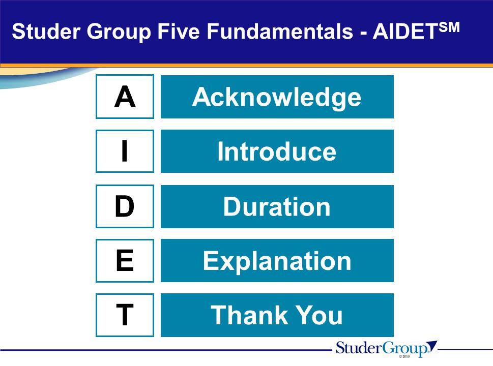 Studer Group Five Fundamentals - AIDETSM