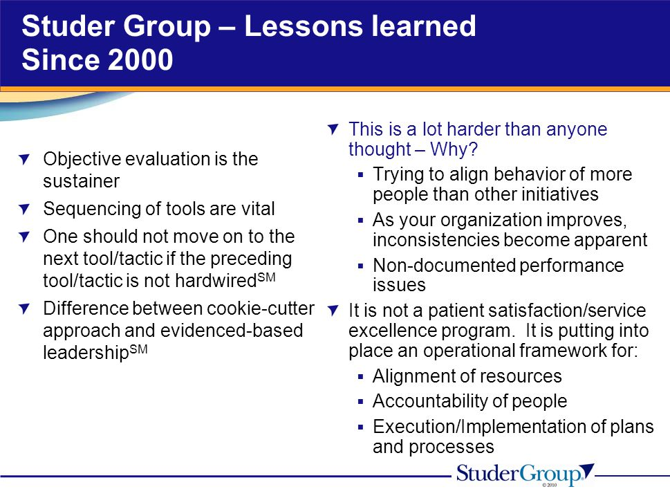 Studer Group – Lessons learned Since 2000