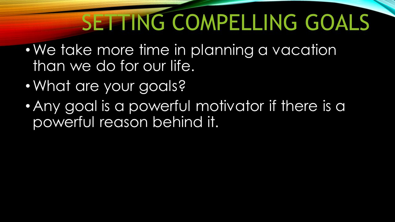 Setting compelling goals