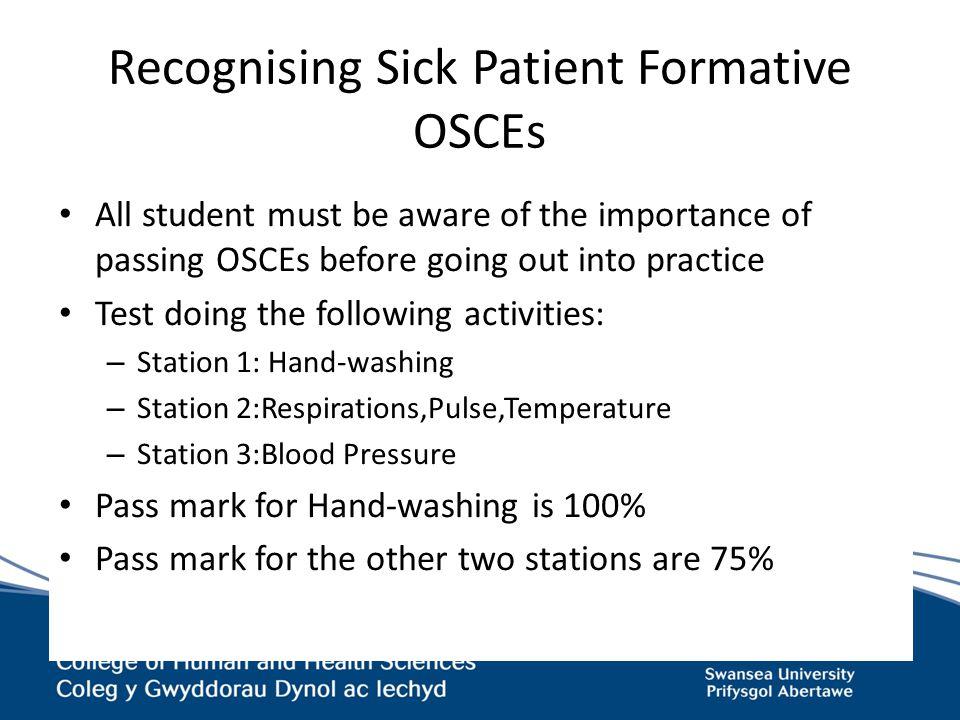 Recognising Sick Patient Formative OSCEs