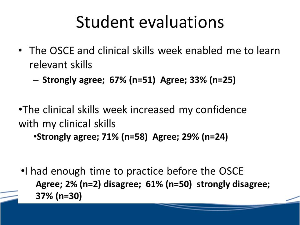 Student evaluations The OSCE and clinical skills week enabled me to learn relevant skills. Strongly agree; 67% (n=51) Agree; 33% (n=25)