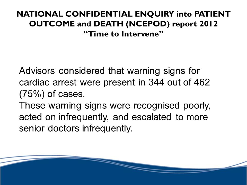 NATIONAL CONFIDENTIAL ENQUIRY into PATIENT OUTCOME and DEATH (NCEPOD) report 2012 Time to Intervene