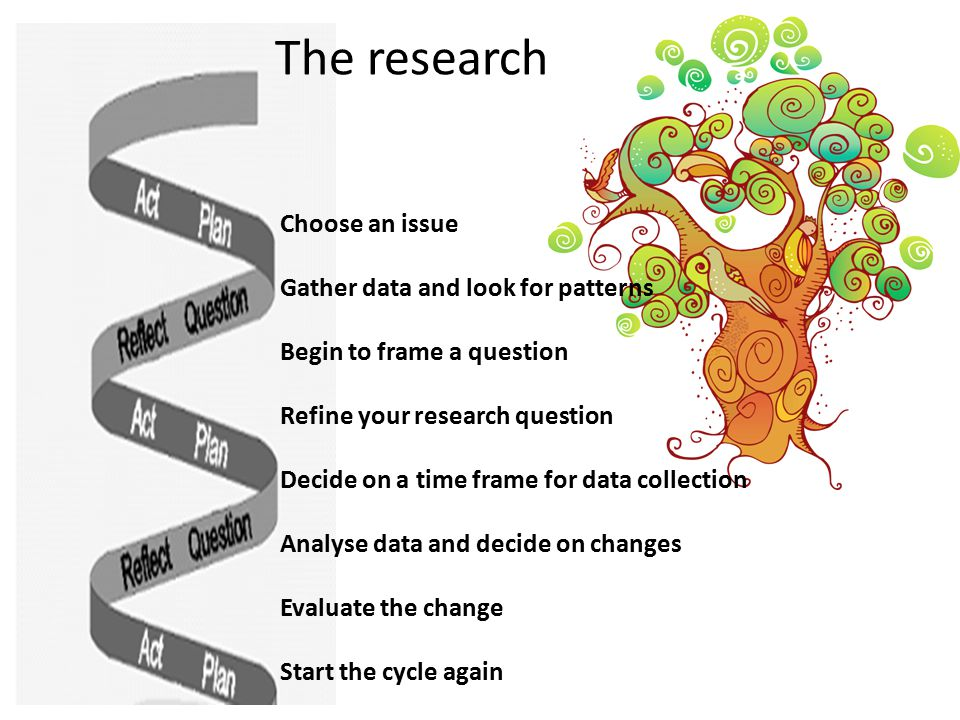 The research spiral Choose an issue Gather data and look for patterns