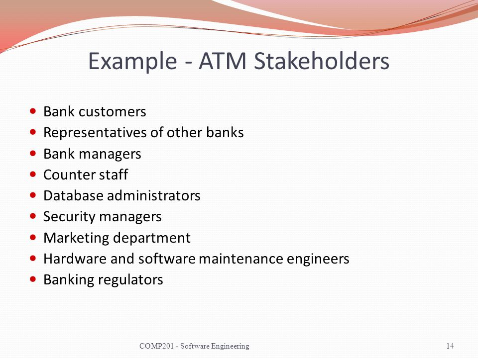 Example - ATM Stakeholders