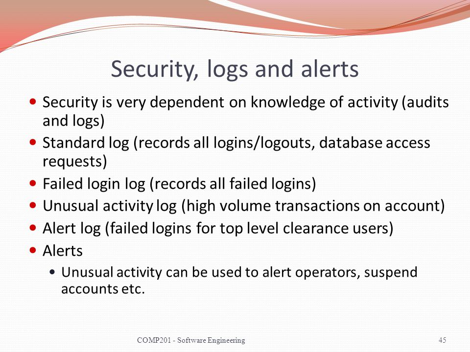 Security, logs and alerts