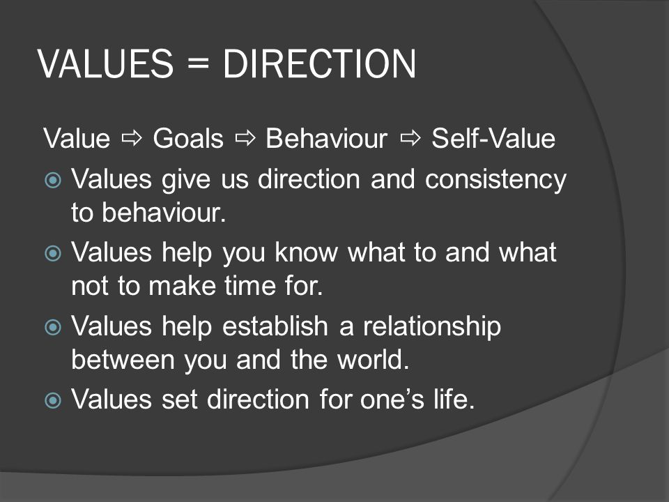 VALUES = DIRECTION Value  Goals  Behaviour  Self-Value