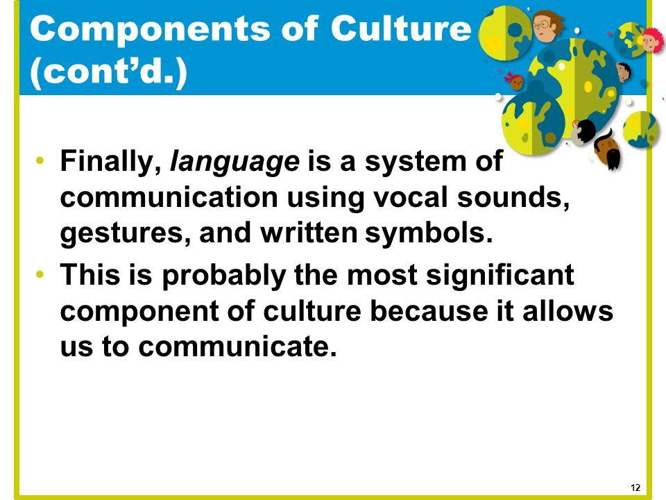 Components of Culture (cont'd.)