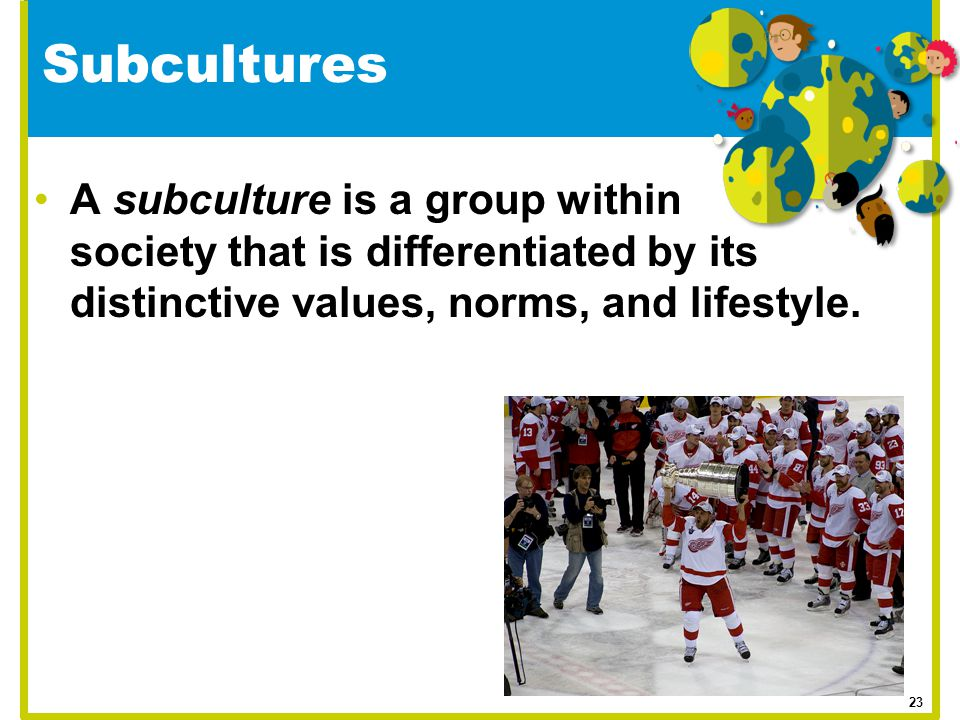Subcultures A subculture is a group within society that is differentiated by its distinctive values, norms, and lifestyle.