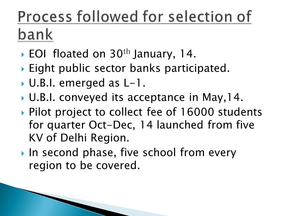 Process followed for selection of bank
