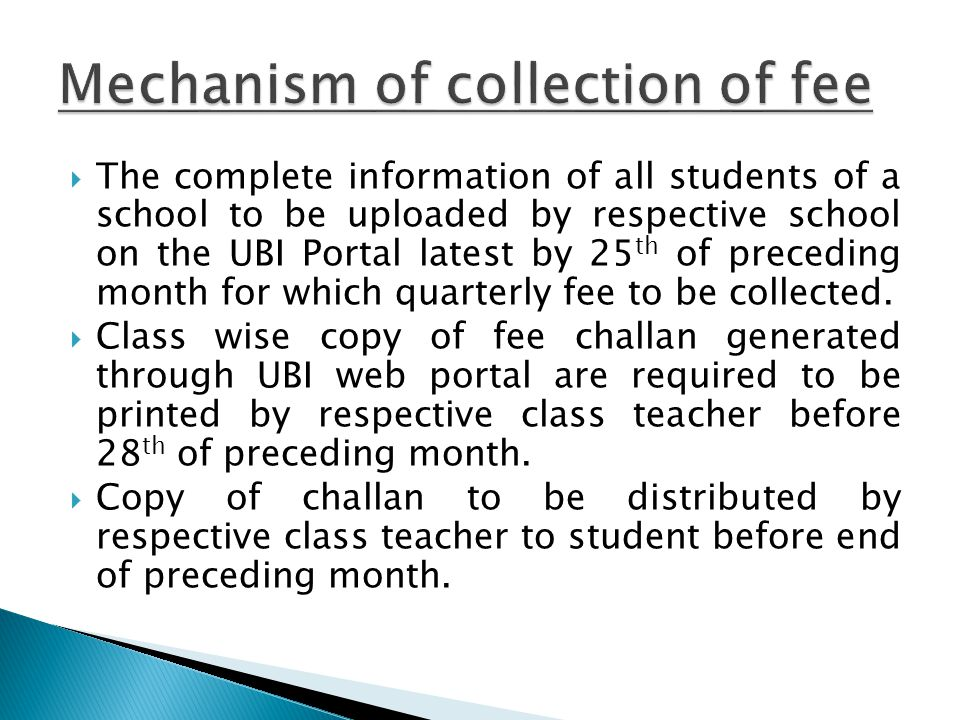 Mechanism of collection of fee