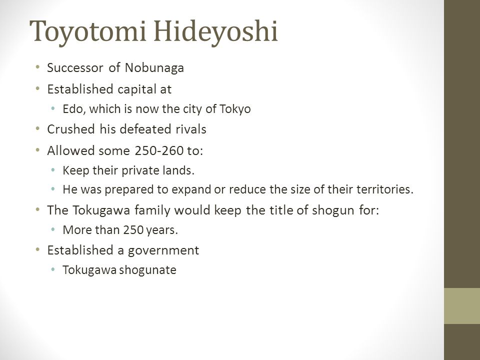 Toyotomi Hideyoshi Successor of Nobunaga Established capital at